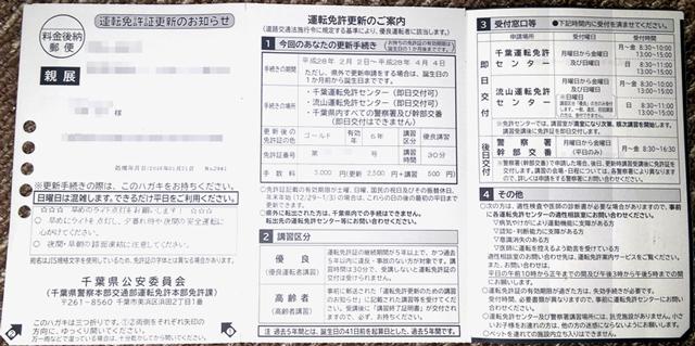 免許更新のお知らせハガキ_千葉_表